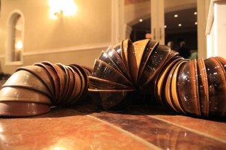 TJ Edwards bowls arranged in a line