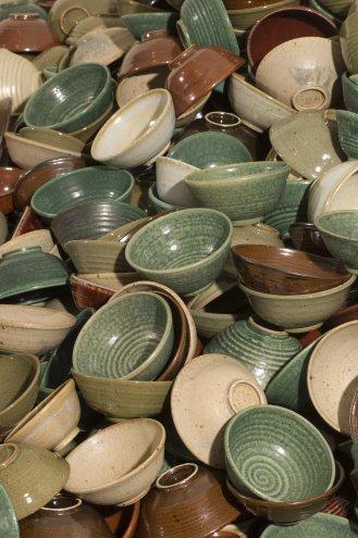 Thomas Edwards nested bowls green, blue, red, white