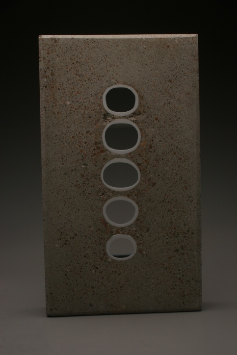 TJ Edwards concrete and ceramics sculpture